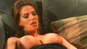 Brunette getting licked and spit-roasted by extremely hot dudes on cam