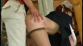 Redheaded MILF dresses up as a schoolgirl to seduce this hung stud