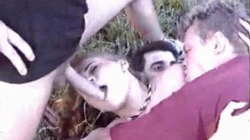 Hairy blonde is getting into unprotected wild threesome outdoors