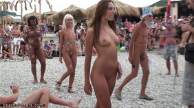 Naked chicks parading their nude bodies for the audience