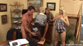 Three blond-haired girlfriends getting savagely drilled by a ripped older dude