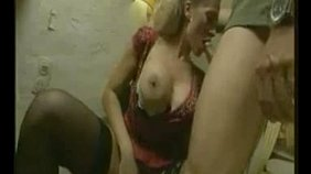 Stockings-clad blonde in a flowery dress gets banged by a big-dicked dude