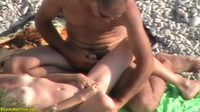 Nudist girlfriend shamelessly masturbating in front of a stranger