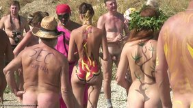 Stunning girlfriends enjoy their body art adventures, spy cam footage