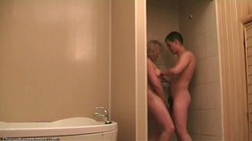 BBW blond-haired beauty ready to fuck her BF in the shower